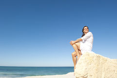 Middle aged woman ocean background Stock Photography