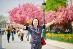 Middle aged woman in Paris Royalty Free Stock Photos