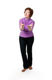 Middle-aged woman in a purple jacket Stock Photo