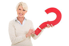 Middle aged woman question mark Royalty Free Stock Photo