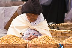 Middle-aged woman selling grains. A middle-aged woman in traditional local dress selling grains, Otavalo market, Ecuador Stock Photos