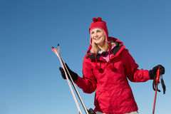 Middle Aged Woman On Ski Holiday In Mountains Stock Images