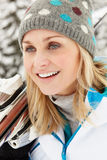 Middle Aged Woman On Ski Holiday In Mountains Royalty Free Stock Photos