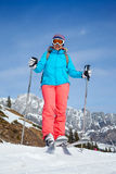 Middle Aged Woman On Ski Holiday In Mountains Stock Photography