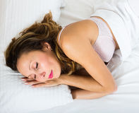 Middle-aged woman sleeping Stock Image