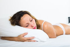 Middle-aged woman sleeping Royalty Free Stock Photos