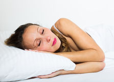 Middle-aged woman sleeping Stock Photo