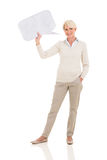 Middle aged woman speech bubble Royalty Free Stock Photography