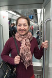 Middle-aged woman  in subway. Stock Photography