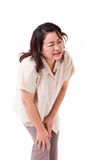 Middle aged woman suffering from knee pain, joint injury Royalty Free Stock Image