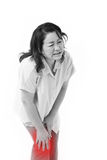 Middle aged woman suffering from knee pain, joint injury. Or arthritis stock images