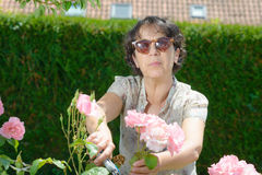 Middle-aged woman with sunglasses in the garden Stock Photography