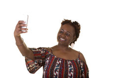 A middle aged woman taking a photo Royalty Free Stock Photos