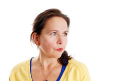 Middle-aged woman thinking Royalty Free Stock Photography