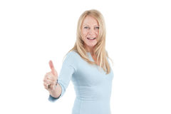 Middle aged woman with thumb up Stock Photos