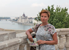 Middle aged woman tourist in Budapest, Hungary. Stock Image