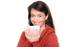 Middle aged woman trinking Stock Photo