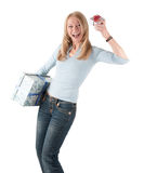 Middle aged woman with two parcels Royalty Free Stock Images