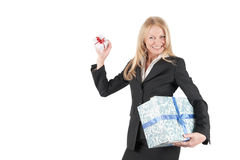 Middle aged woman with two parcels Stock Image