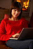 Middle Aged Woman Using Laptop Computer Royalty Free Stock Photo