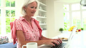 Middle Aged Woman Using Laptop And Eating Breakfast stock video footage