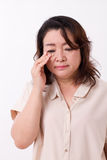Middle aged woman with vision issue, myopia, hyperopia, eye issue Royalty Free Stock Photography