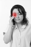 Middle aged woman with vision issue, myopia, hyperopia Stock Image