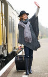 Middle Aged Woman Walking Next to Train Stock Photography