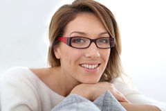 Middle-aged woman wearing eyeglasses Stock Image