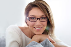 Middle-aged woman wearing eyeglasses Royalty Free Stock Photo