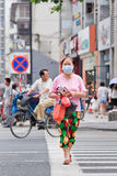 Middle-aged woman wearing a mouth cap, Kinming, China. NANJING-MAY 25-2014. Middle aged woman wearing mouth cap. An increasing number of Chinese citizens wear stock photo