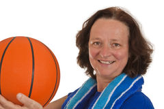Middle Aged Woman With Basketball Royalty Free Stock Images