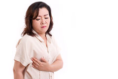 Middle aged woman worrying about breast cancer Stock Photography