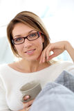 Middle-aged woman wuth eyeglasses Stock Photos