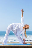 Middle aged woman yoga Stock Photo