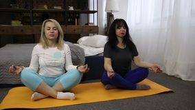 Middle-aged women meditating in lotus pose stock video