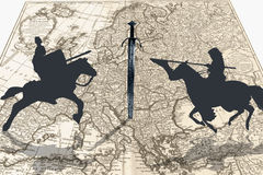 Middle Ages. Dark war wallpaper with knights and map of europe Stock Images