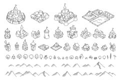 Free Middle Ages City Map Kit. Buildings Set. Medieval Fantasy Sketch. Mountains And Trees. Selection For Board Game. Hand Stock Photography - 170888492