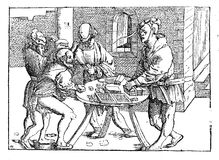 Middle ages engraving, players with board games. Medieval lifestyle image, players entertaining themselves with backgammon Royalty Free Stock Photo