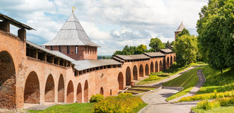 Middle ages fortress Kremlin in Nizhniy Novgorod. Tower and wall of middle ages fortress Kremlin in town Nizhniy Novgorod, Russia. Panorama royalty free stock photography