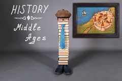 Middle Ages History funny education concept. With unusual teacher from books royalty free stock photography