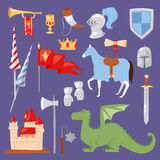 Middle Ages medieval knight Heraldic royal crest elements vintage knighthood castle vector illustration Royalty Free Stock Photo