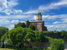 The Middle Ages scandinavian fortification. A fortress in the town of Viborghoff on the hill after the water barrier stock image