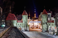 Middle ages town gates with towers royalty free stock photography