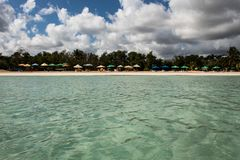 In the middle of an amazing, green and turquoise caribbean sea; transparent water, tropical paradise. Playa Macaro, Punta Cana,. Dominican Republic royalty free stock image