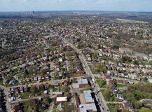 Middle America Aerial. High over Pittsburgh Pennsylvania neighborhoods Stock Photo