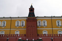 Middle Arsenal Tower and wall of the Moscow Kremlin. Royalty Free Stock Photo