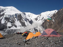 Middle Asia. Lenin Peak. Camp 1 at 4400m Stock Images