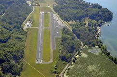 Middle Bass Island Airport, aerial. Aerial view of the Middle Bass Island Airport, Ohio USA stock photography