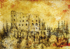 Middle castle in forest drawing on old paper and vintage sepia structure. Royalty Free Stock Images